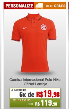 ... Camisa Internacional Polo Nike Oficial Laranja - Mundo do Futebol ... b3cb47cf3ec0e