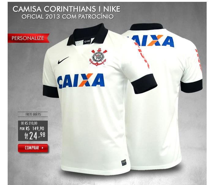 Camisa Corinthians I Nike Oficial 2013 com PatrocÃnio - Mundo do Futebol c1d32326f7d27