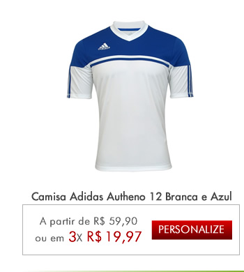 Camisa Adidas Autheno 12 Branca e Azul - Mundo do Futebol ... fdee24d92a7ce